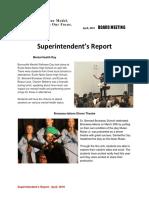 April 2019 - Superintendent's Report