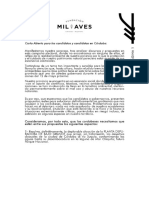 Fundación Mil Aves - Carta Abierta Para Las Elecciones en Córdoba Del 12 Mayo 2019