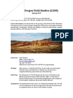 Central Oregon Geology Field Studies (G200-05) Portland State University Spring 2019 with John Bershaw Syllabus
