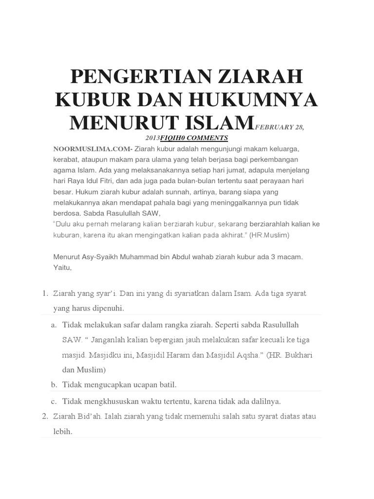Pengertian Ziarah Kubur Dan Hukumnya Menurut Islamfebruary 28
