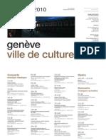 Genève, Ville de culture. Evénements novembre 2010