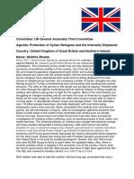 Position Paper, Syrian Refugee Crisis; UK