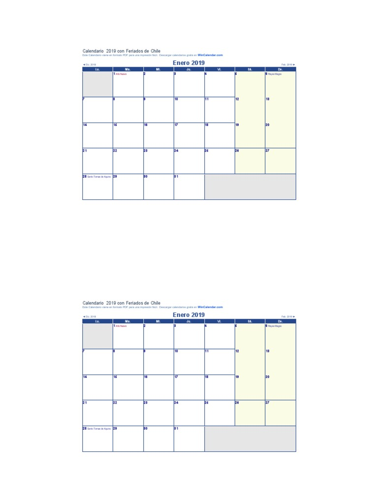 Calendario 2019 Chile Con Feriados Pdf.Calendario Likan Enero Julio2019