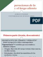 Panesi. Las Operaciones de La Crítica El Largo Aliento