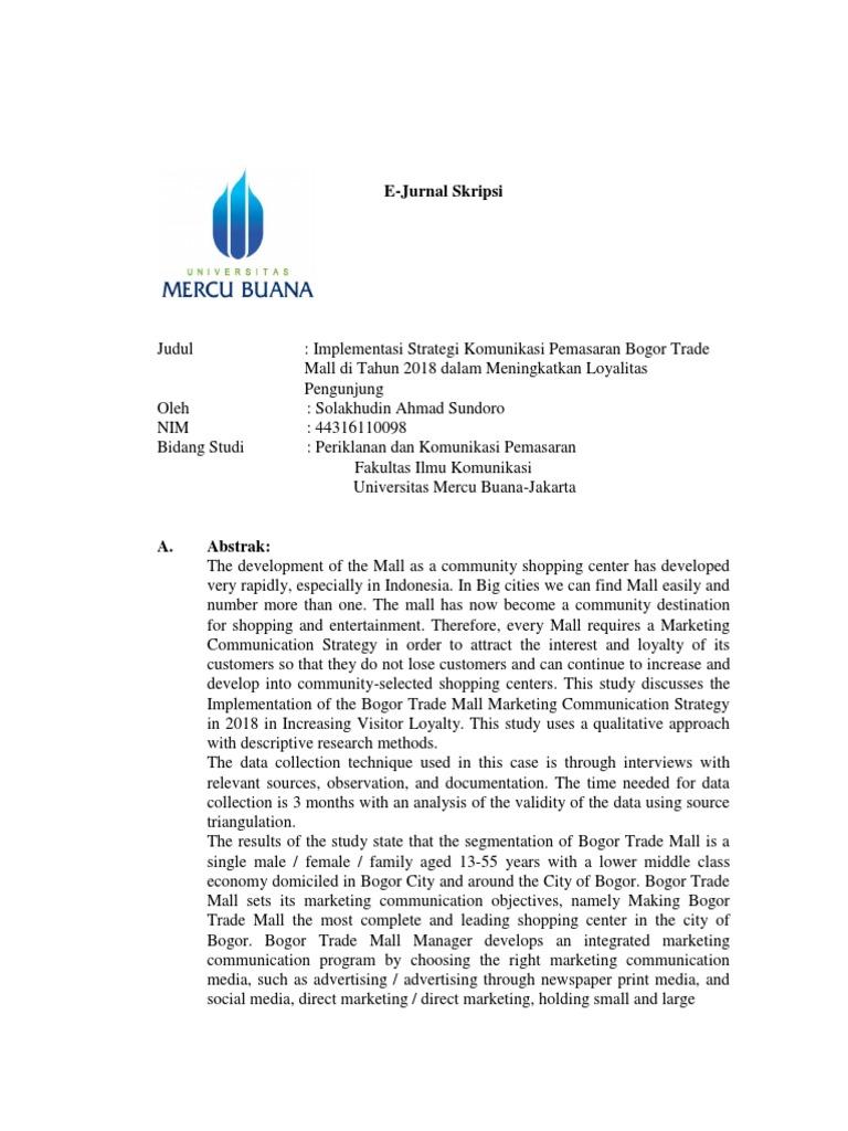 Contoh Jurnal Skripsi Mercu Marketing Communications Promotion And Marketing Communications