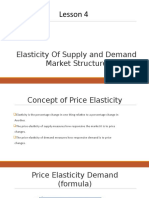 Elasticity of Supply and Demand Market Structure