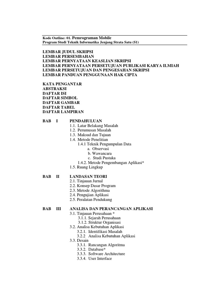 Penjelasan Outline Skripsi Prodi Ti Pemrograman Mobile