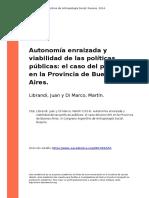 Librandi, Juan y Di Marco, Martin (2014). Autonomia Enraizada y Viabilidad de Las Politicas Publicas El Caso Del Plan AHI en La Provincia (..)