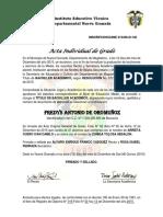 Acta Individual de Grado