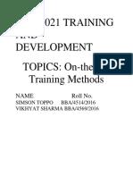 Bba 6021 Training and Development