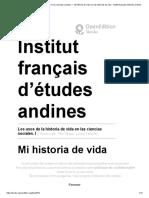Los Usos de La Historia de Vida en Las Ciencias Sociales. I - Mi Historia de Vida Con Las Historias de Vida - Institut Français d'Études Andines