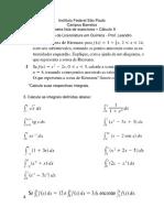 Lista de exercícios de cálculo