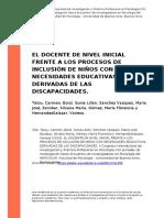 Talou, Carmen, Borzi, Sonia Lilian, s (..) (2010). El Docente de Nivel Inicial Frente a Los Procesos de Inclusion de Ninos Con Necesidade (..)