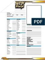 D6 Powers Character Sheet