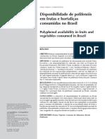 Disponibilidade de polifenóis em frutas e hortaliças consumidas no Brasil