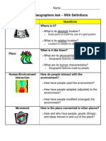 questions geographers ask chart - with definitions