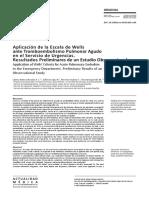 Aplicación de la Escala de Wells ante Tromboembolismo Pulmonar Agudo en el Servicio de Urgencias. Resultados Preliminares de un Estudio Observacional