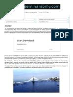 Bandra-Worli Bridge _ Seminar Report, PPT, PDF for Civil Engineering