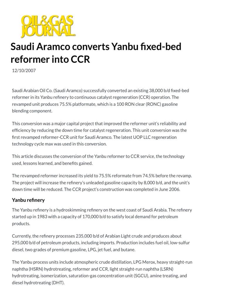 Saudi Aramco Converts Yanbu Fixed-bed Reformer Into CCR - Oil & Gas