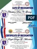 Academic Excellence Award certi shek