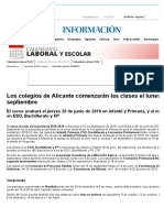 Calendario Escolar 2018:2019 en La Comunidad Valenciana, InFORMACION