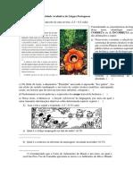 Atividade Avaliativa de Língua Portuguesa C