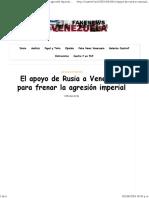 El Apoyo de Rusia a Venezuela Para Frenar La Agresión Imperial – Cuatro F