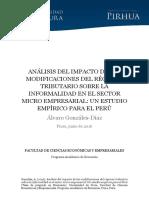 Análisis Del Impacto de Las Modificaciones Del Régimen Tributario Sobre La Informalidad