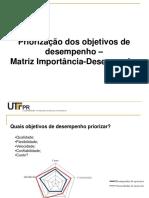 4. Priorização de Objetivos de Desempenho - Matriz Importância-Desempenho