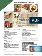 Menu de La Cuisine de Meme Moniq 6 Au 12 Avril