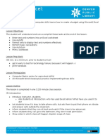 Microsoft Excel - Basics Lesson Plan