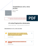 """Notas de """" Desobediencia Civil y Otros Escritos """""""