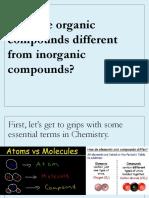 Inorganic v Organic INTRODUCTION to Chemistry
