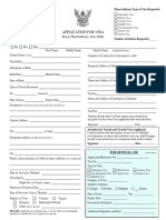 Visa Application Form New Thailand