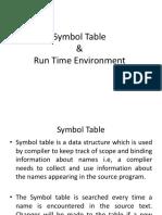 Symbol Table Run Time Environment