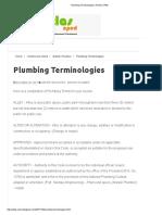 Plumbing Terminologies