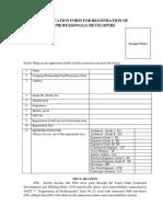 Application Form for Registration of Professional Developers