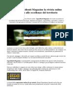 Reputazione Online Azienda Nasce Ingredienti Magazine Dedicata Alle Eccellenze Del Territorio