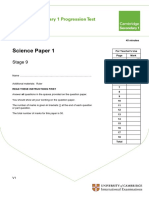 Secondary Progression Test - Stage 9 Science Paper 1