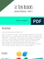 base ten blocks - manipulative portfolio - entry 4