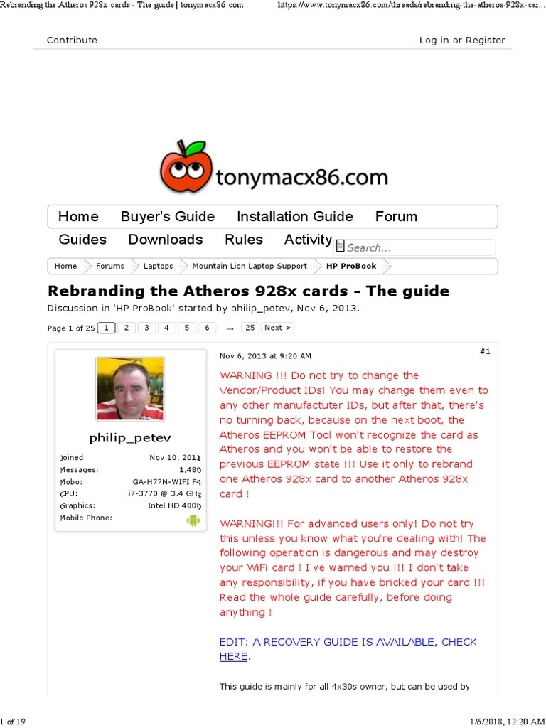 Rebranding the Atheros 928x Cards - The Guide | Booting