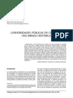 ¿UNIVERSIDADES PÚBLICAS EN COLOMBIA? UNA MIRADA HISTÓRICA