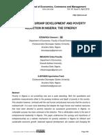 ENTREPRENEURSHIP DEVELOPMENT AND POVERTY REDUCTION IN NIGERIA