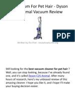 Best Vacuum For Pet Hair -Dyson C25 Animal Vacuum Review