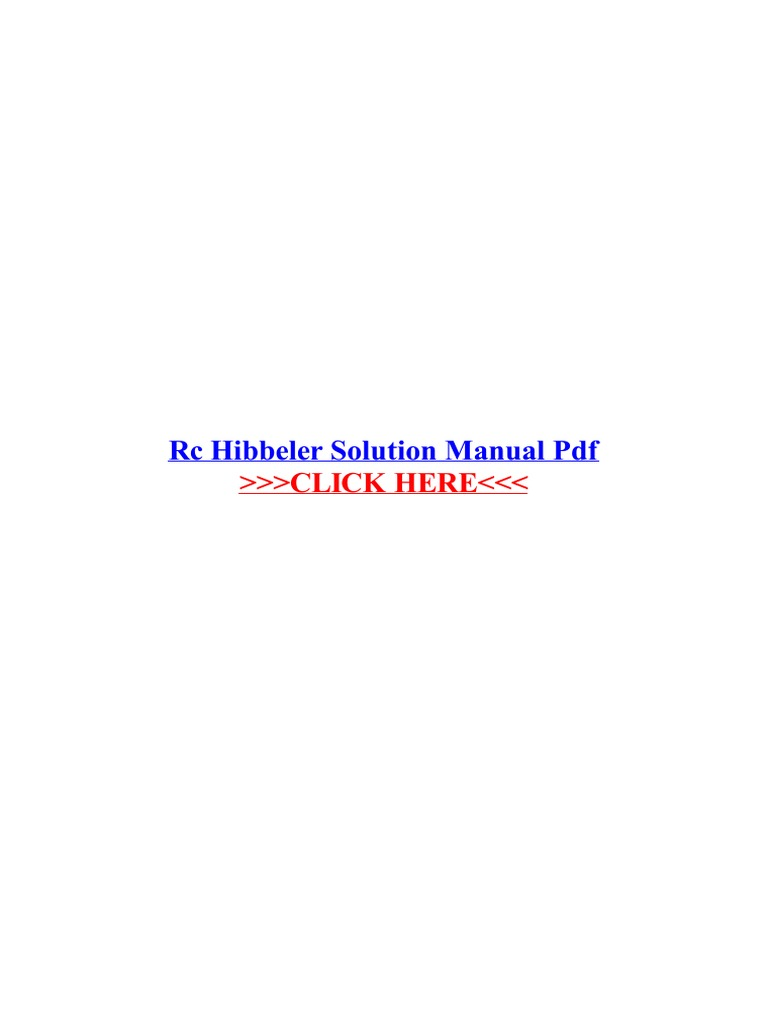 Rc Hibbeler Solution Manual PDF Structural Analysis