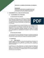 LINEA DE INVESTIGACION EN LA CARRERA DE DERECHO