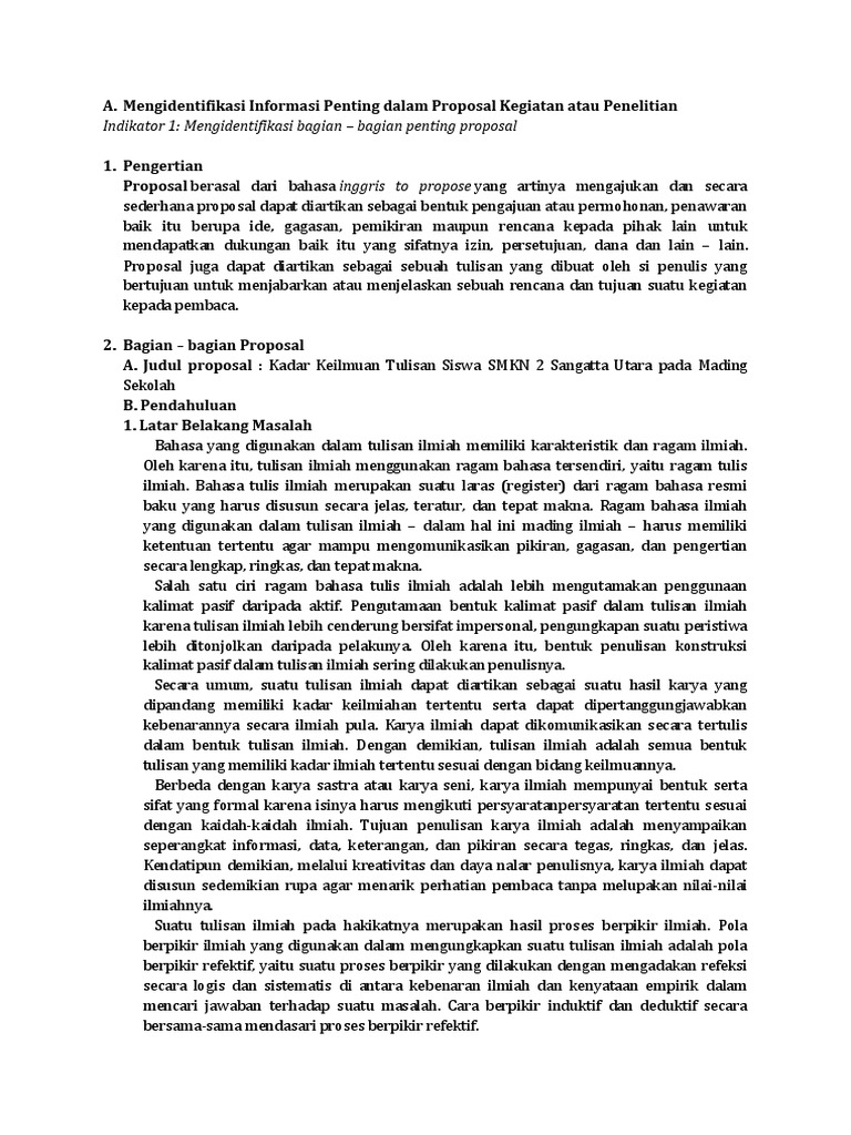 Bagian Bagian Penting Proposal - Revisi Sekolah