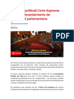 Corte Suprema evaluaría levantamiento de inmunidad parlamentaria