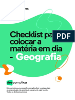 Checklist Para Colocar a Matéria Em Dia - Geografia