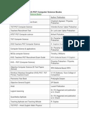 kvs pgt computer science books arihant pdf free download